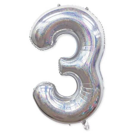 "Number ""3"" Silver Glitter (100cm.)"